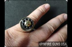 RING GUN-2mm Pinfire Gun USA's Blued OR Gold-Plated Pepperbox
